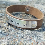 "Down Syndrome Awareness Bracelet ""Trisomy 21"" Leather Plate"