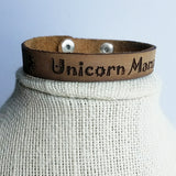 "Leather Strap Bracelet ""Unicorn Mama"""