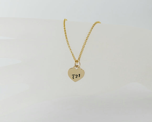 Tiffany Style T21 heart pendant in Gold