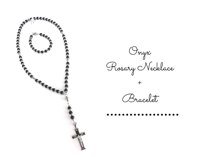Onyx Rosary Necklace + Bracelet