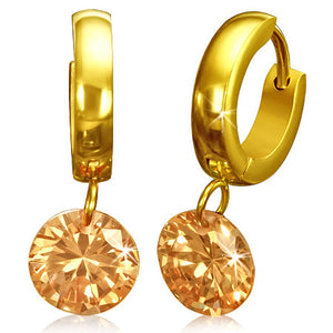 Earrings -  Gold plated Steel Round Circle Drop Hoop Huggie Earrings W/ Jet Champagne Color CZ (Pair)
