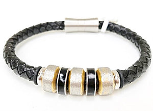 Leather Bracelet - Black Braided Leather W/ Stainless Steel 2-Tone Tube & Magnetic Clasp