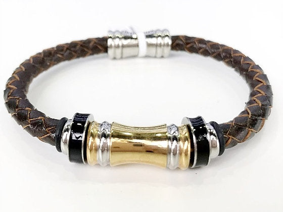 Leather Bracelet - Brown Braided Leather W/ Stainless Steel 2-Tone Tube