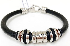 Leather Bracelet - Black Leather W/ Stainless Steel Tube & Lobster Clasp