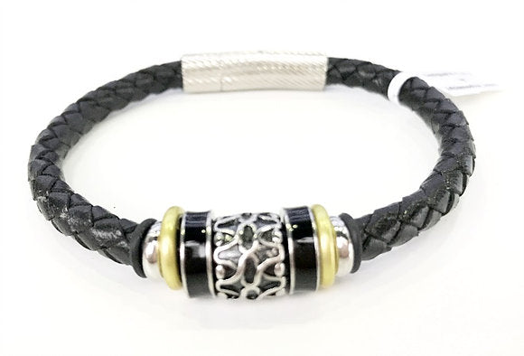 Leather Bracelet - Black Braided Leather  W/ Stainless Steel 2-Tone Tube