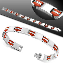 Bracelets Steel - W/ Red Rubber 2-Tone Engravable Panther Link