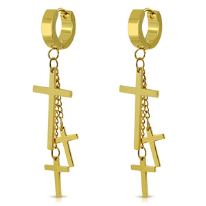 Earrings - Gold Color Plated Stainless Steel Triple Latin Cross Charm Long Chain Drop Hoop Huggie (Pair)