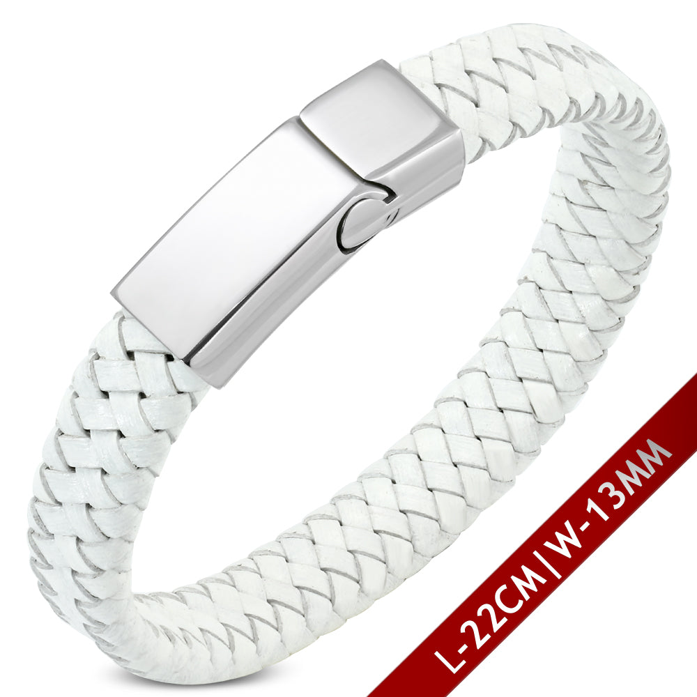Leather Bracelet - White Braided Leather W/ Stainless Steel Magnetic Slide Clasp Lock