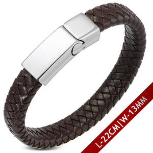 Leather Bracelet - Dark Brown Braided Leather W/ Stainless Steel Magnetic Slide Clasp Lock