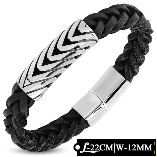 Leather Bracelet - Black Braided Leather Bracelet W/ Stainless Steel Magnetic Slide Clasp Lock