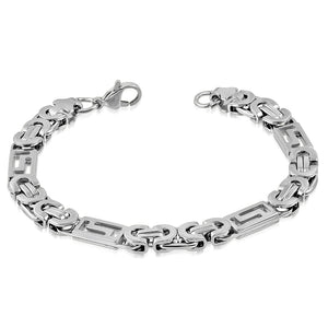 Bracelet Steel - Lobster Claw Clasp Closure Cut-Out Greek Key Byzantine Link Chain
