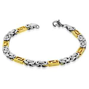 Bracelet Steel - Lobster Claw Clasp-Tone Cut-Out Greek Key Byzantine Link Chain