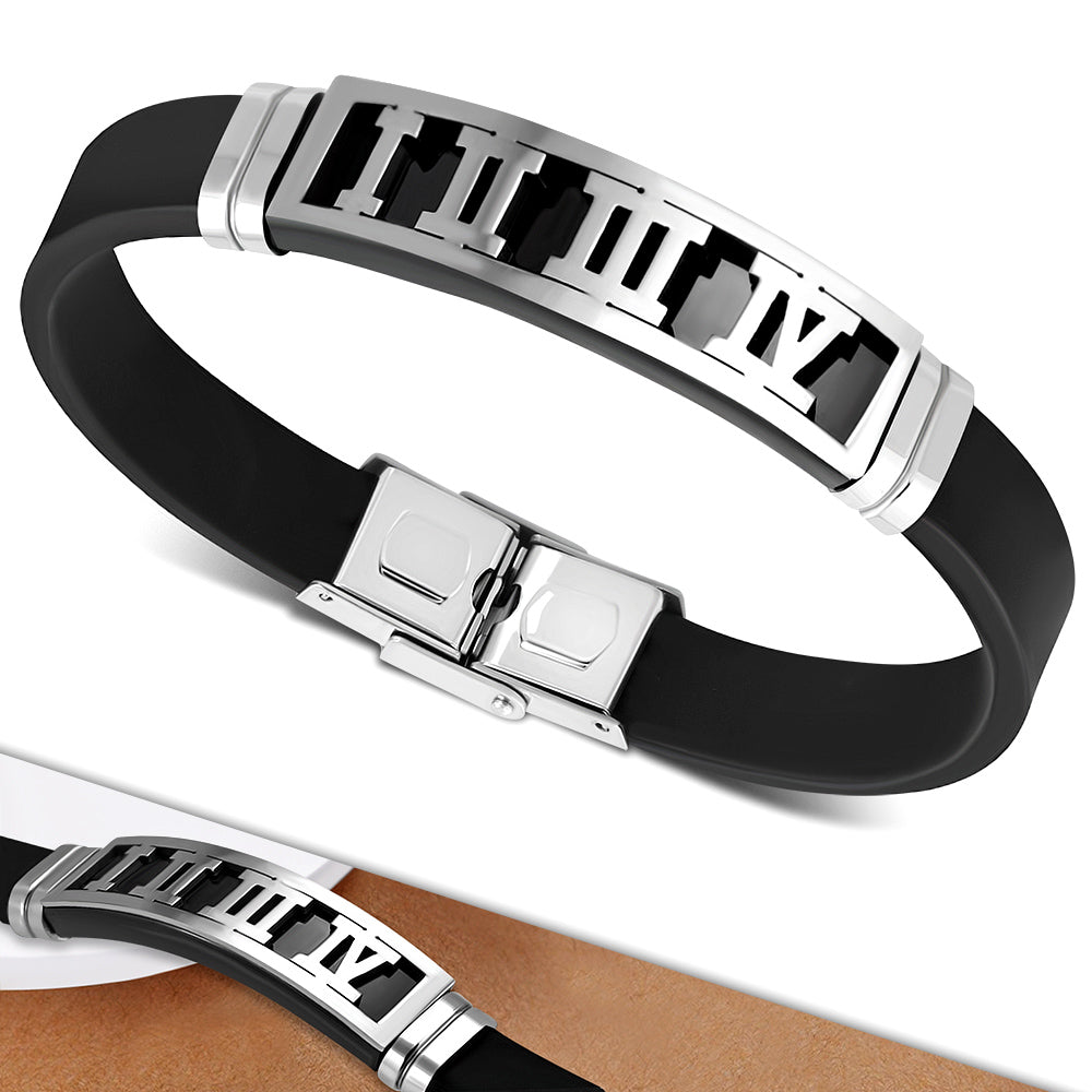 Bracelet - Steel 2-Tone W/ Black Rubber Roman Numberal Watch-Style