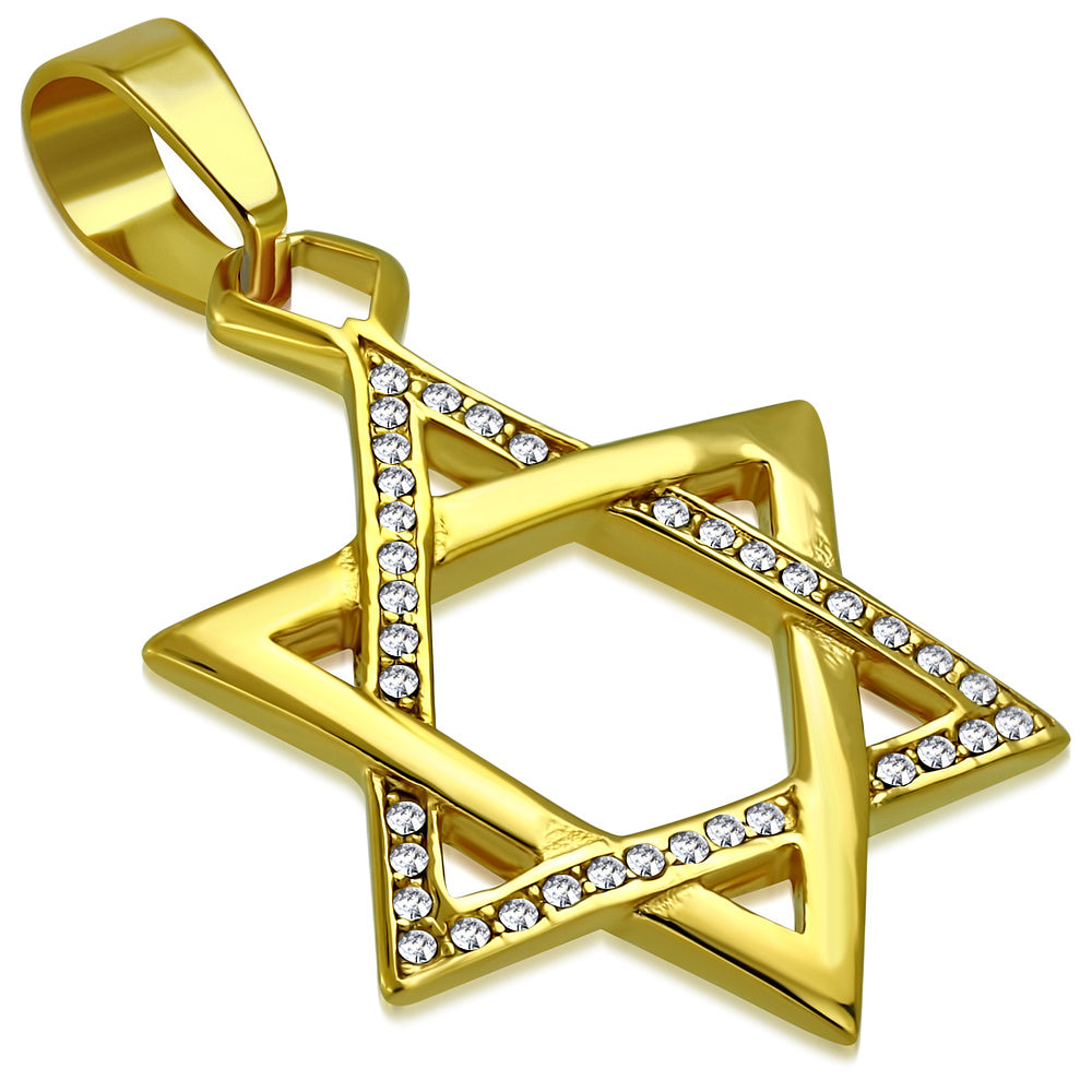 Pendant-Gold plated Steel Star of David-BPC504