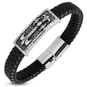 Leather Bracelet - Steel 2-Tone Fleur De Lis Cross Watch-Style Black Braided Leather Magnetic Slide Clasp Lock