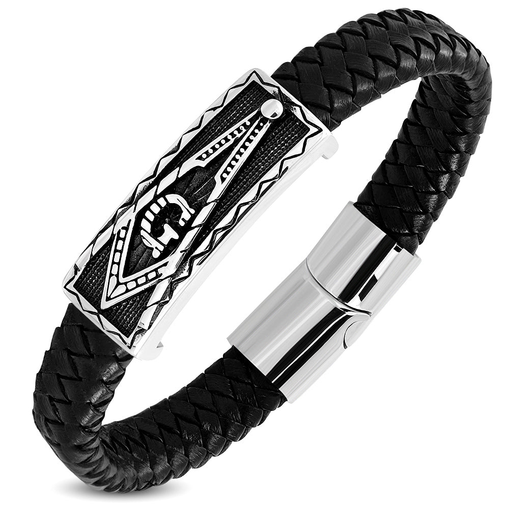 Bracelet - Steel 2-Tone Freemasonry Masonic G Compass Watch-Style Black Braided Leather Magnetic Slide Clasp Lock