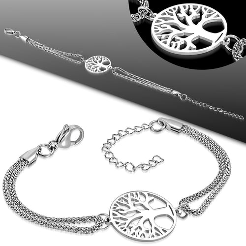 Bracelet Steel Cut-Out Bodhi Tree Circle Watch-Style Extender Chain Mesh