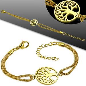 Bracelet - Steel Cut-Out Bodhi Tree Circle Watch-Style Extender Chain Mesh