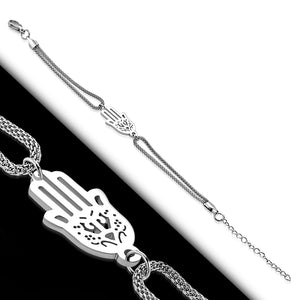 Bracelet - Steel Filigree Hand Of Fatima/ Hamsa Watch-Style Extender Chain Mesh