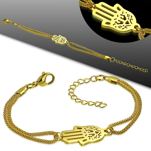 Bracelet - Gold Color Plated Stainless Steel Filigree Hand Of Fatima/ Hamsa Watch-Style Extender Chain Mesh