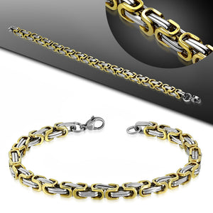 Bracelet Steel 2-Tone Greek Key Byzantine Link