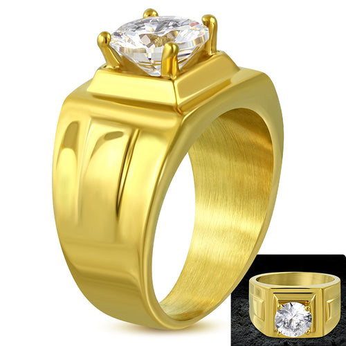 Ring Gold Color Plated Surgical Steel Prong Set Round Circle Ring w/ Clear CZ - CRK055