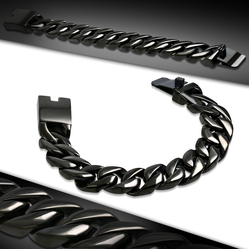 Bracelet -  Huge & Heavy Black Stainless Steel Curb Cuban Link Box Clasp Lock