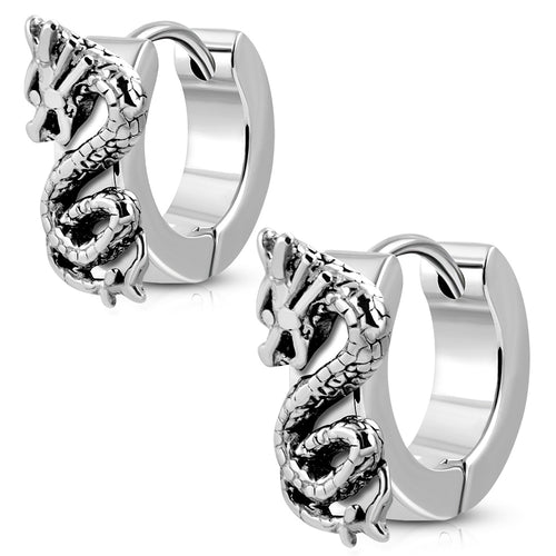Earrings Surgical Steel 2-Tone Dragon Hoop-Huggie