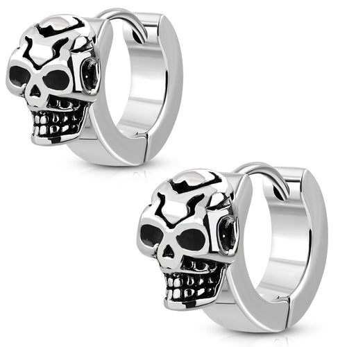 Earrings Surgical Steel 2-tone Skull Hoop - EBB392