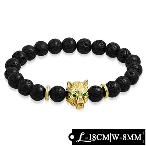 Bead Bracelet - Stretchable - Fashion Golden Spacer Fox Face & Black Obsidian Volcanic Lava Beads Healing Balance Meditation W/ Emerald CZ