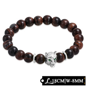 Bead Bracelet - Stretchable | W-8mm | Fashion Spacer Fox Face & Tiger Eyes Beads Healing Balance Meditation W/ Emerald CZ