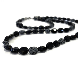 Snowflake Obsidian and Onyx Necklace