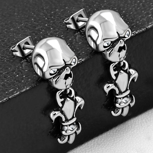 Earrings-Steel 2-tone Skull Fleur De Lis - GEC026