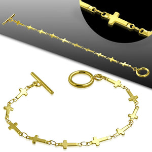 Bracelet - Gold Color Plated Stainless Steel Latin Cross Link Chain Toggle
