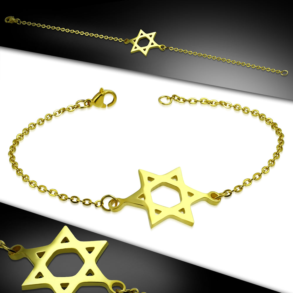 Bracelet - Gold Color Plated Stainless Steel Star Of David Watch-Style Link Chain