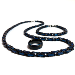 Men's Black and Blue Surgical Steel Necklace