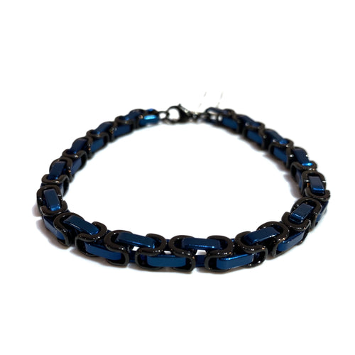 Men's Black and Blue Surgical Steel Bracelet