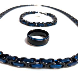 Men's Black and Blue Surgical Steel Ring