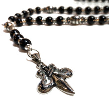 Onyx Rosary with Steel Accents