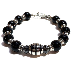 Onyx Rosary with Steel Accents Bracelet