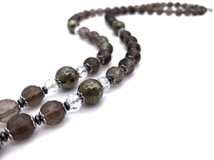 Smokey Quarts and Pyrite Tassel Necklace