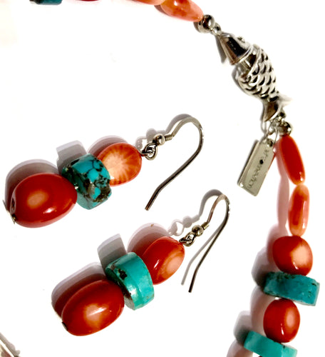 Earrings - Coral & Turquoise