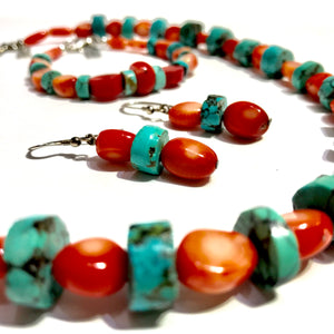 Bead Necklace - Coral & Turquoise