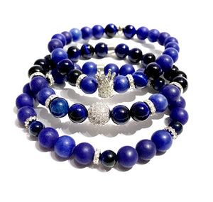 Bead Bracelet - Stretchable - Blue Tiger Eye - Agate - ART128