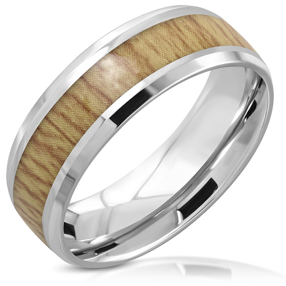 Ring Steel - 2-Tone Wood Inlay - LRC621