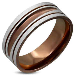 Ring Steel - Brown Color Plated Satin Finished - NRM085