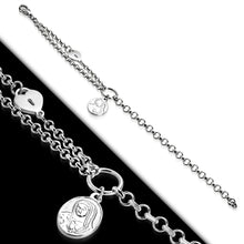 Bracelet - Steel Praying Mary Oval Charm Heart Padlock Link Chain
