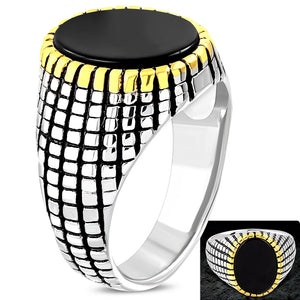 Ring Steel 3-Tone Bezel-Set Oval Fancy Biker  - RBR456