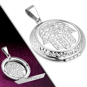 Pendant - Engraved Hand of Fatima/ Hamsa Circle Vintage Locket Pendant - VPP528