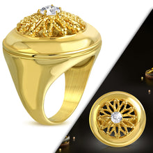 Ring Steel - Gold Plated Flower - WRP274